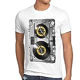 style3 Nonstop Play T-Shirt Herren kassette fotodruck turntable schallplatte, Größe:XXXL;Farbe:Weiß
