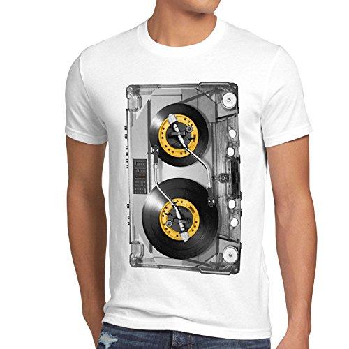 style3 Nonstop Play T-Shirt Herren kassette fotodruck turntable schallplatte, Größe:XXXL, Farbe:Weiß