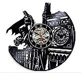Batman-London Vinyl-Schallplatte Wanduhr,Cartoon Thema Vinyl Wanduhr Handmade Schwarz Hohle Familie Acryl wanduhren-AJ 30cm(12inch)