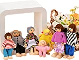 Traditional Action Figure Set Primitive Happy Wooden Doll Family of 7 People With Yarn Hair Doll House Accessories