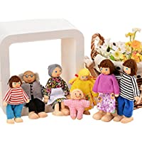 Traditional Action Figure Set Primitive Happy Wooden Doll Family of 6/7 People With Yarn Hair Doll House Accessories