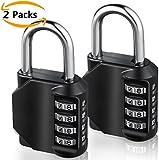 Combination Padlock, [2 Pack]E2Buy® 4 Digit Combination Lock, Padlock for School Gym Locker, Filing Cabinets, Toolbox, Employee Locker, Fence, Hasp, Outdoor Storage, Parking Lock, Case etc.(Black)