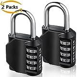 Combination Padlock, [2 Pack]E2Buy® 4 Digit Combination Lock, Padlock for School Gym Locker, Luggage Suitcase Baggage Locks, Filing Cabinets, Toolbox, Case(Black)