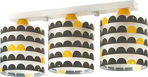 Lámpara colgante de 3 pantallas, detalles amarillos