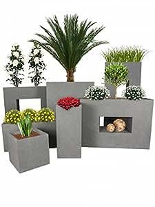 PFLANZWERK® Vaso da fiori VISTA Grigio 53x75x27cm *Resistente al gelo* *Protezione UV* *Europea di qualità*