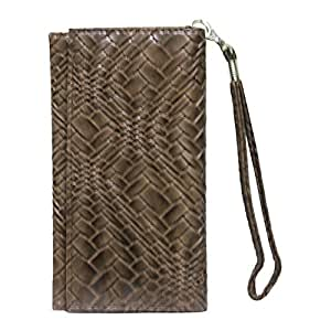 Jo Jo A5 Bali Leather Wallet Universal Pouch Cover Case For Intex Aqua i3 Brown
