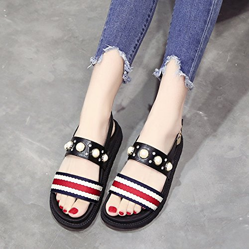 8ed3f37200c1e4 LGK FA Summer Women S Sandals Thick Soled Sandals Summer A Muffin Word Belt  Of Rome Sandals 40 Black - Buy Online in Oman.