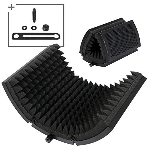 Tonor Sound Shield per Microfono con Isolamento Assorbente Mic Riflettore in Schiuma Fonoassorbente per Qualsiasi Microfono a Condensatore Recording Equipment Studio, Nero