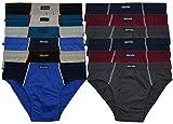 12 weiche 100% Baumwolle Herren Sport Slips in schönen Farbkombinationen und Muster ohne Eingriff- Gr. L-6, (12 x Farbset 10)
