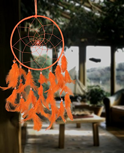 ILU Dream Catcher Wall Hanging Handmade Beaded Circular Net with Feather Decoration Ornaments Size 16.5cm Diameter Orange