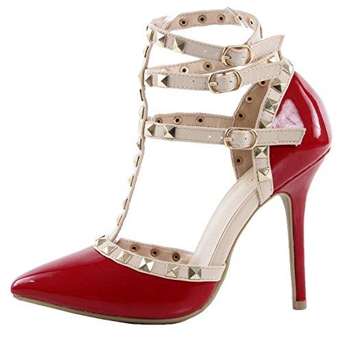 s Schuhe verzierte Schnalle High Heel Sandale, Rot, 46 EU (Rot Spike Heel Schuhe)
