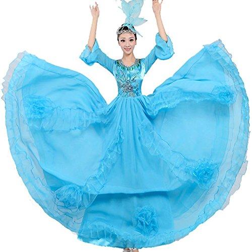 Ballroom Kostüme Swing Tanz (Byjia Frauen Flamenco Lange Kleid Performance Kostüme Eröffnung Tanz Blühende Blüte Chor Modern Tanz Big Swing Rock Light Blue)