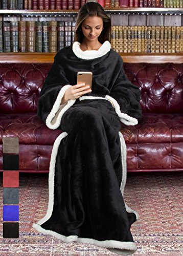 Catalonia, Sherpa-Decke mit Ärmeln, warme Plüsch-Decke aus Mikro-Vlies, flauschige Überwurf-Decke, für erwachsene Damen und Herren, 183cm x 140cm, Microfaser, schwarz, 183cm x - Werfen Decke ärmel
