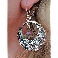 ❁ ORECCHINI TRIBALI GRANDI INKA CON VERDE - PIETRA VIOLA ❁ orecchini rotondi con motivo indigeno e pietra naturale