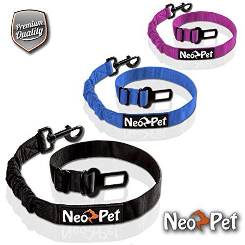 NeoPet Hundegurt fürs Auto, 2 Größen für große und kleine Hunde, Hunde-Sicherheitsgurt, Hunde-Anschnall-Gurt, Hund-Auto-Gurt zum anschnallen für die Rückbank, Größe M-L, Schwarz