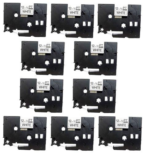 10 x Casete de Cinta para Brother P Touch TZe231 / TZ231 laminada estandár | negro sobre blanco | 12mm x 8m