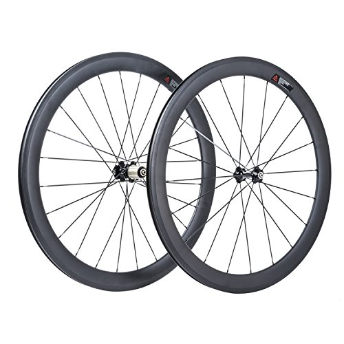 VCYCLE 50mm Carbon Fiber Road Bike Wheels 700C Riveter 23mm Width Shimano or Sram 8 / 9 / 10 / 11 Speeds