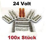 100x St - 24V LKW Nfz AUTO LAMPEN SET - 10x P21/5W + 10x P21W + 10x PY21W + R5W (BA15s) + R5W (BA15d) + 10x R10W + 10x W5W + 10x W3W + 10x C5W SV8.5 (11x41) + 10x) + BA9s (T4W) Glühlampe Prüfzeichen