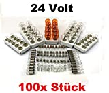 100x Stück – 24V LKW Nfz AUTOLAMPEN SET - ( 10x P21 /5W + 10x P21W + 10x PY21W + R5W (BA15s) + R5W (BA15d) + 10x R10W + 10x T10 W 5W + 10x T10 W3W + 10x C 5W SV8.5 (11x41) + 10x) + BA9s (T4W) 24Volt 24Volt Beleuchtung - LONGLIFE - Glühlampe, Glassockellampe, Glühbirne, Soffitte. Mit E-Prüfzeichen. INION®