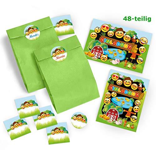 Stroh Bauer Hats - 12 Einladungskarten Geburtstag Kinder Bauernhof für