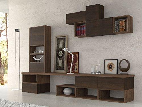 Ve.ca-italy parete attrezzata soggiorno etnika, living, arredo casa, in diverse colorazioni (noce - wengè)