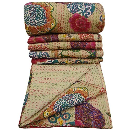 pushpacrafts beige multicolor 100% Baumwolle Kantha Quilt Floral Muster Home Décor Print, King Size, Kantha Decke, Bett, King Kantha Tagesdecke, Bohemian Betten Kantha Größe 228,6 x 274,3 cm (Print Floral Color Multi)
