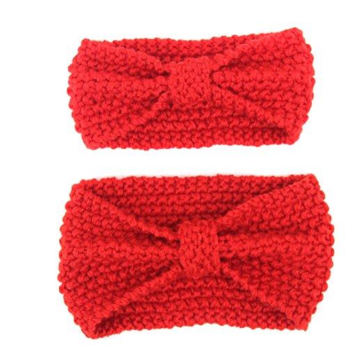 TININNA 2 Piezas Diadema para Mamás y Niños, Invierno Caliente Cinta Venda de Pelo Lana Tejido De Punto Banda Hairwrap-Rojo
