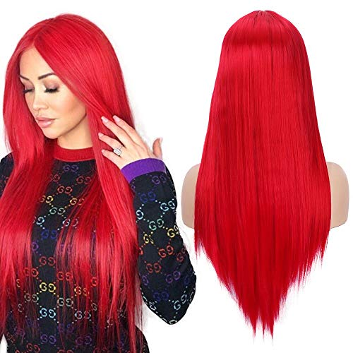 Perücke für Frauen Hohe Qualität Mode Rot 22 zoll Synthetische Mittelteil Perücke ()