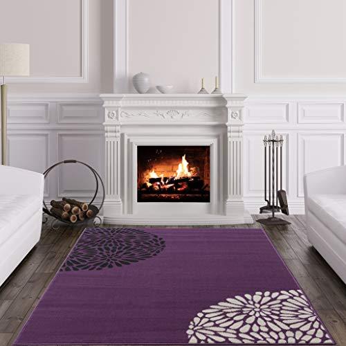 r, moderner Teppich, Violett/Schwarz / Cremefarben, uni, Shiraz ()