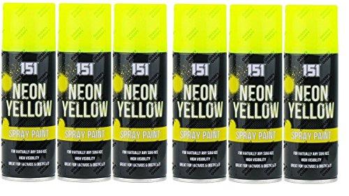 6x 200ml Neonfarbenspray, fluoreszierend, Aerosol, Auto, Kunst, Graffiti, gelb Neon-shell