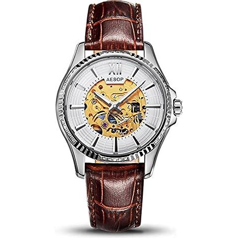 downj automatico scheletro meccanico orologio da polso Hollow luminoso orologi da uomo con in pelle marrone