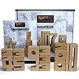 SumBlox Montessori Spielzeug Basis Set - Beim Spielen Mathematik, Zahlen, 1x1 (Einmaleins) und Rechnen Lernen, Pädagogisches Material und Spielzeug, 43 Holz Bausteine in Form von Zahlen