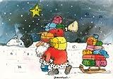 Janosch Adventskalenderkarte Weihnachtsmann mit Geschenken beladen