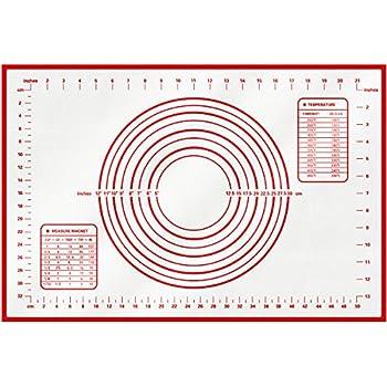 HBlife Silikon Backmatte Backen Premium Backpapier wiederverwendbar antihaftbeschichtet Rollen Matte Rutschfeste Backunterlage Silikonmatte Teigmatte Backfolie Arbeitsmatte Ausrollmattefür Teig Rollen mit Messungen (Rot)
