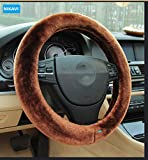 #6: NIKAVI Plush Stretch-On Vehicle Steering Wheel Cover, Classic Car Wheel Productor (Brown)