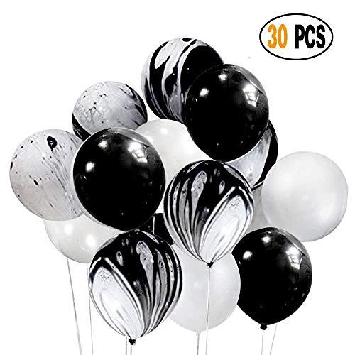 30 Stück Partydekorationen Set Kombinierte Luftballons, Schwarz Achat Marmor Tie Dye Swirl Schwarz-Weiß-Latex-Ballons für Hochzeit Geburtstag Baby Duschen Christmas Festival Zeremonie und Party
