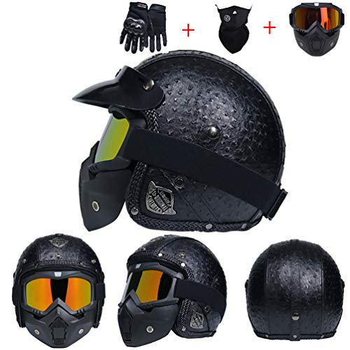 Casco moto in pelle Harley anti nebbia UV protezione integrale moto Caschi con lente moto Motorcross Caps per Outdoor Racing ciclismo mountain bik