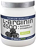 L-Arginine 4500 - Arginine Powder Capsules - 300 Highly Dosed and Pure L-Arginine Caps including Bioperine and Vitamin B12 - 10 weeks Supply - Backed by Amazon Guarantee