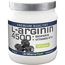 L-Arginina cápsulas – concentrada y pura - 300 cápsulas para hasta 3 meses - 913mg de Arginina por cápsula + bioperina / piperina + vitamina B12 – Calidad premium de fabricación alemana