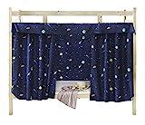 Rideau occultant pour lit superposé ou lit cabane, protection contre la poussière et les moustiques, idéal dans un dortoir, noir foncé, 1.2M x 2M ( 1 Piece included )