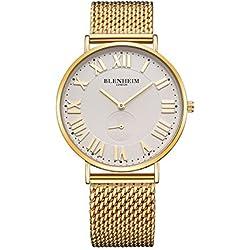 Blenheim London® Kensington Golden Case Mens Watch with Golden Bracelet Watch for men