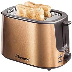 Bestron Grille-pain avec 2 fentes pour griller des toasts, Tiroir ramasse-miettes et gril intégrés, 1 000 W, Design Acier inoxydable/cuivre