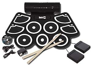 RockJam RJ760MD Electronic Roll Up MIDI Drum Kit with Built-in Speakers (Black)