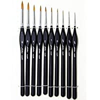 10 Pcs Best Professional Siberian Kolinsky Sable Detail Paint Brush,High Quality Miniature Brushes Will Keep a Fine Point and Spring, For Watercolor, Oil, Acrylic, Nail Art & Models