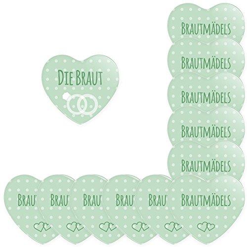 Werbewas 12er Set Herz Buttons für feierliche Anlässe - Hochzeit - Junggesellenabschied / JGA Party - Trauung (38mm) Motiv Brautmädels - Mint mit Nadel-Anstecker