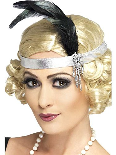 Jewel Bandeau (Silver Satin Charleston Headband With Black Feathers and Jewels)