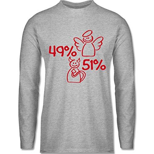 Sprüche - 49% Engel - 51% Teufel - Longsleeve / langärmeliges T-Shirt für Herren Grau Meliert