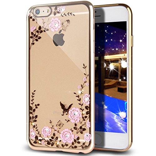 iPhone 7 Plus Hülle,iPhone 7 Plus 2016 Hülle,JAWSEU Luxus Gold Klare Ultradünne Silikon Gel Schutzhülle Durchsichtig Kristall Transparent TPU Silikon Bumper Schutz Handyhülle Case Tasche Etui für iPho Pink Blumen,Gold
