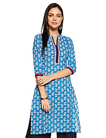 Soch Women's Straight Kurta (Soch NC KT 3748_Blue_Small)