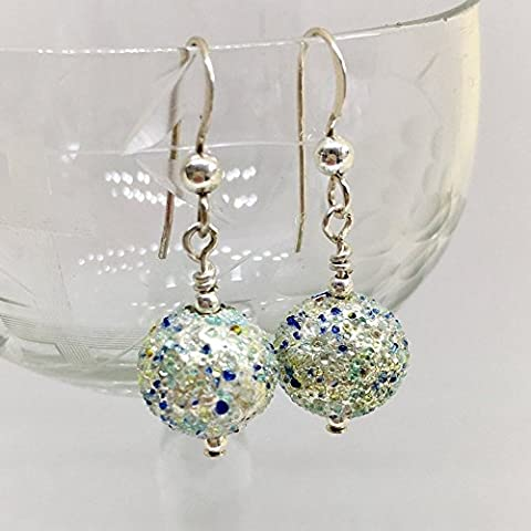 Diana Ingram speckled shades of blue & white gold Murano